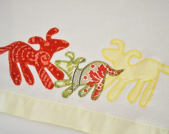 Organic Dog Baby Blanket -- Yellow, Green, Red -- Free Personalization
