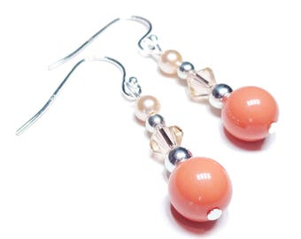 Classic Swarovski Pearl & Crystal Earrings - Peach