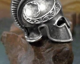 Greek Spartan Helmet Tie Tack in solid sterling silver Free Domestic Shipping