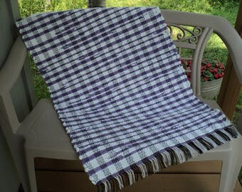 Purple and White Cotton Chenille Hand Woven Rag Rug