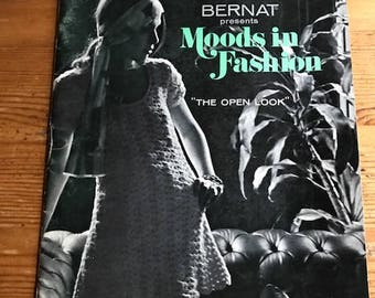 1970 Bernat presents Moods in Fashion the open look granny square knitting and crochet vintage booklet