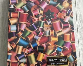 Vintage Jigsaw Puzzle Springbok Sew What Thread Spools Pincushion