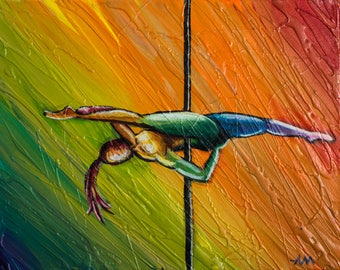 Jade - Original Painting of a Pole Dancer