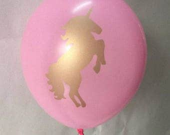 Unicorn Balloons Pink and Gold Double sided Image pk 10