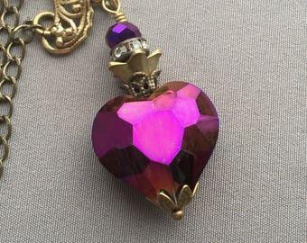 Heart Necklace - Heart Jewelry - Purple Jewelry - Crystal Necklace - Romantic Necklace - Heart Pendant - Romantic Jewelry - Purple Necklace