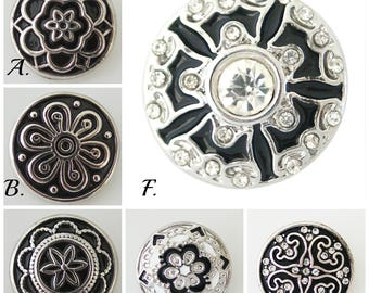 Snap charms for snap jewelry.  20 mm black snap buttons will fit Ginger Snaps jewelry.  Snap charms make a great gift!