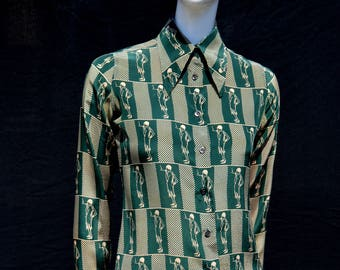 Vintage 70's NICOLA BLASI silk blouse Extra small FAB 20's flappers jazz era novelty print