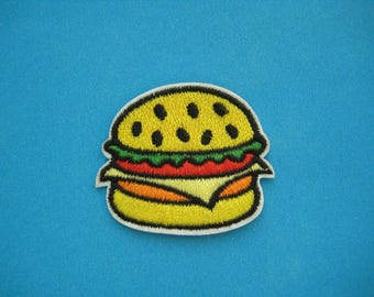 Iron-on Embroidered Patch Hamburger 2 inch