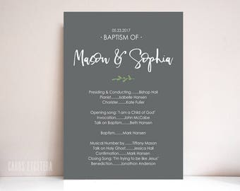 Baptism program, Boy, Girl Baptism program, LDS baptism program: PRINTABLE  (Twins)