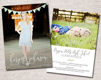 Graduation Announcement, Graduation Invitation, Photo, Graduation Announcement, Graduation Party invitation: PRINTABLE (Harper grad invite)