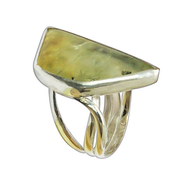 Prehnite Ring Set in Sterling Silver, Size 7-1-4  r725pref2865