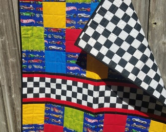 Hot Wheels, cars, bright colors- quilt