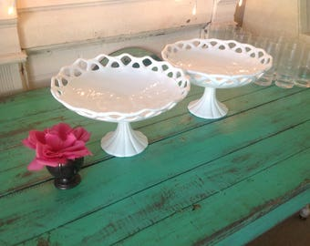 """LARGE MILK GLASS Pedestal Bowl / 12.5"""" x 7 1/2"""" tall Lace Edge Scalloped Top Compote Bowl Wedding  Baby Shower Serving Dish Retro Daisy Girl"""