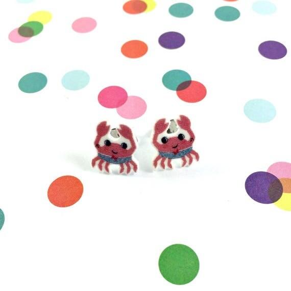 crab, short, summer earring, red, stud, earring, shrink plastic,  stainless stud, nickel free, light, handmade, les perles rares