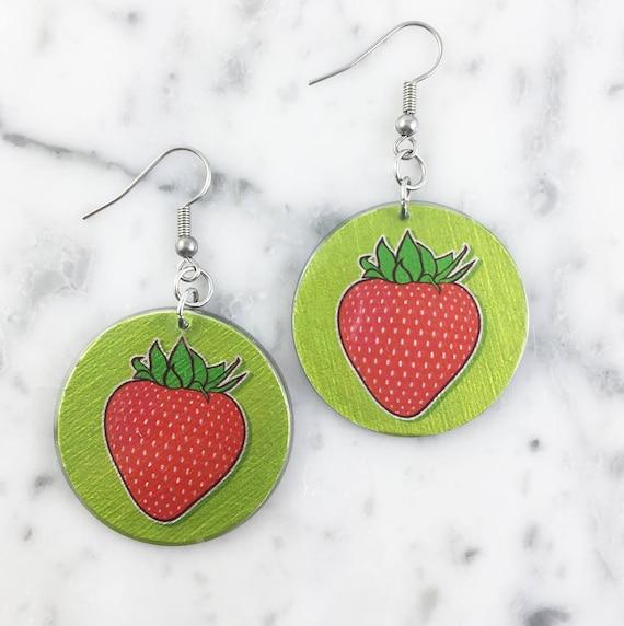 Resin earrings,strawberry, red, green, handmade, sold, earring, hypoallergenic hook