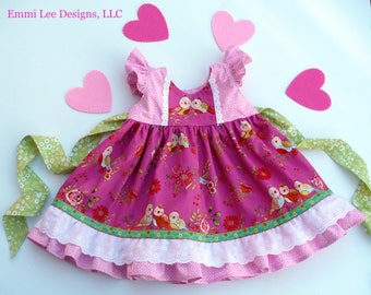 Girls Easter Dress,Little Girls Dress,Toddler Dress,Special Occasion,Pink,Birds,Lace,Twirl Dress, Sizes 12MO,18MO,2T,3T,4T,5T,6.7,8,10