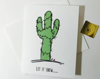 Arizona Christmas Card Set of Four, Cactus Doodle Christmas Cards, made on recycled paper, card pack comes with envelope and seal