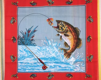deadstock 1980's large novelty bandana 21.5x22 fishing lures fish outdoor camping lake nature scene made in USA selvedge NOS #75