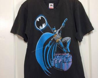 Vintage 1988 Batman Gotham City bat signal black t-shirt size Medium 18x24 DC Comics movie made in USA