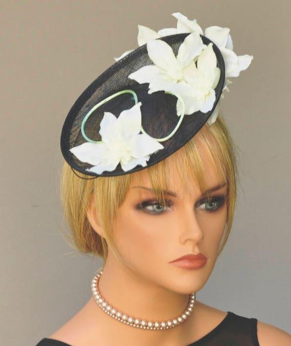Derby Fascinator Hat, Wedding Hat, Women's Black & White Hat, Formal Hat, Melbourne Cup Hat, Ascot Hat, Saucer Hat, Event Hat, Occasion Hat
