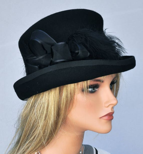 Black Wool Felt Hat, Top Hat, Ladies Winter Hat, Formal Hat, Funeral Hat, Women's Black Hat, Victorian English Riding Hat Event Occasion Hat