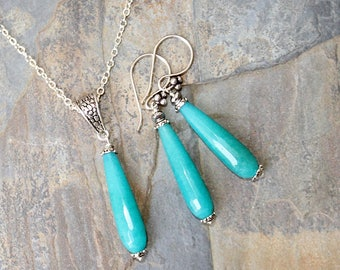 Turquoise Jewelry Set, Jade Jewelry Set, Stone Jewelry Set, Silver Jewelry Set, Modern Jewelry Set, Blue Jewelry Set, For Her