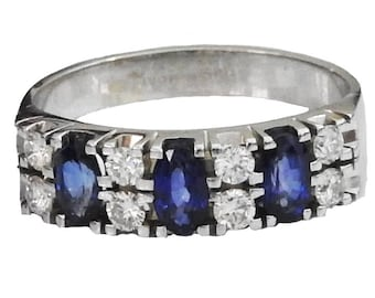 Ready to be Shipped within 3 days SALE -40% Sapphire Ring Diamond Ring Engagement Ring 14K White
