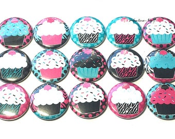 "Cupcake Sprinkle Magnet, 1"" Button Magnet, Cupcake Theme, Pink Cupcake, Cupcake Party Favor, Cupcake Birthday, Cupcake Gift, Cupcake Decor,"