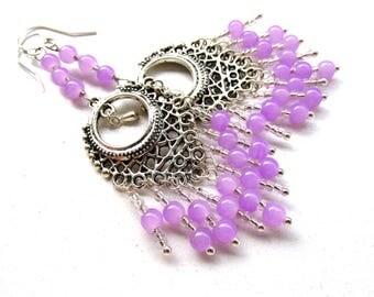 Purple beads, chandelier earrings, 3.5 inches long