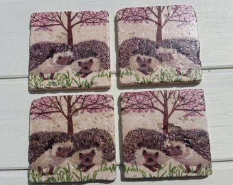 Hedgehog Coaster Set of 4 Tea Coffee Beer Coasters