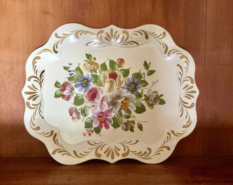 Vintage large cream hand print metal tole tray