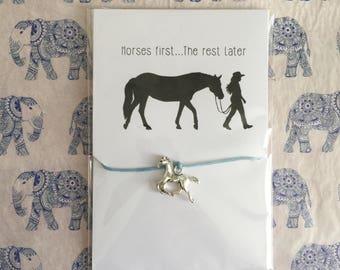 Horses First, The Rest Later... Horse Friendship Bracelet