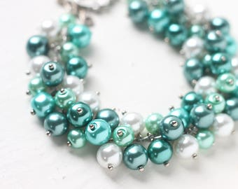 White and Green Wedding Bracelet - Teal Green Bridesmaids Jewelry Pearl Cluster Bracelet Spring Wedding