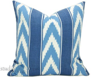 Blue Striped Pillow Cover - Stripe - 20 inch or 22 inch - Decorative Pillow - chevron - outdoor pillow - strie - blue - made to order
