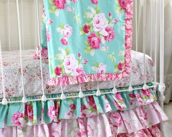 Shabby Chic Pink Aqua Roses Crib Bedding Set w/ Ruffle Skirt, Custom Bumperless Baby Bedding for a Unique Baby Girl Nursery- Morning Rose