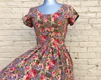 Vintage 80s Cotton Floral Dress small