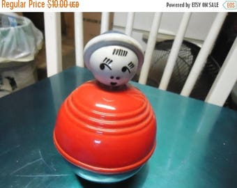 Back Open Sale Vintage Rolly Polly Toy, plastic, collectable, bobble back and forth