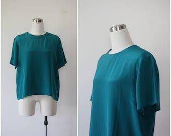 Teal Silk Blouse L, Green Silk Tee, 1990's Teal Silk T-Shirt, Silk Top, Silk Shirt Large