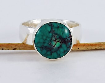 Size 8 1/2 Ring Handcrafted Sterling Silver and Round Turquoise Cabochon  Natural Stone Contemporary Artisan Jewelry Design 3476665041717