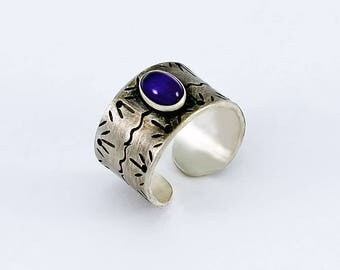 Size 5 1/2 Ring Handcrafted Sterling Silver Amethyst Cabochon Hand Stamped Wide Band Cuff Style Contemporary Artisan Jewelry 3427663941617