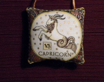 Zodiac Capricorn Dark Blue Fabric Astrology Astrological Pillow Hanger Ornament