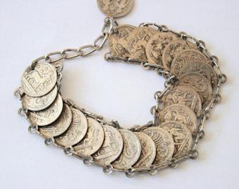 Vintage Zodiac coin bracelet.  Signs of the Zodiac