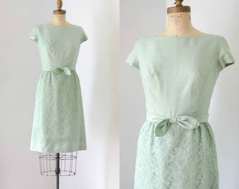 Vintage 1960's Mint Green Lace Dress with Cap Sleeves