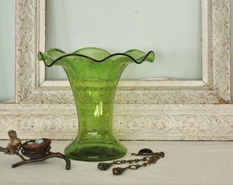 Vintage Blown Flared Green Art Glass Vase