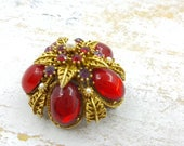 Art Signed Red Jelly  Brooch  Regal Style Shining Colors Gold tone Arthur Pepper