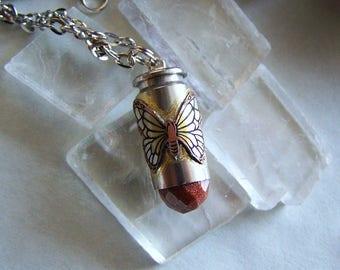 Goldstone Butterfly Silver Bullet Jewelry Pendant