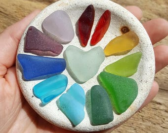 RAINBOW NEST - Rainbow of Scottish Sea Glass Shards - Sea Pottery Base - Scottish Beach Finds (6919)