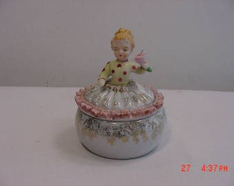 Vintage Little Girl Ceramic Trinket Box  17 - 833