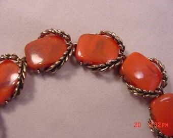 Vintage Orange Marbled Thermoset Bracelet  18 - 151