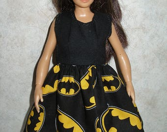 Handmade clothes for doll such as Lammily- black and yellow bat sign dress
